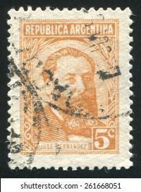 ARGENTINA - CIRCA 1962: stamp printed by Argentina, shows Jose Hernandez,  journalist, poet, politician, circa 1962