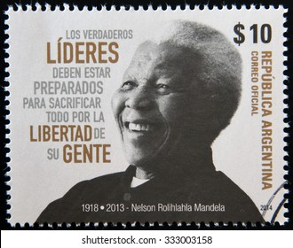 ARGENTINA - CIRCA 1984: A stamp printed in Argentina shows Nelson Mandela, circa 1984