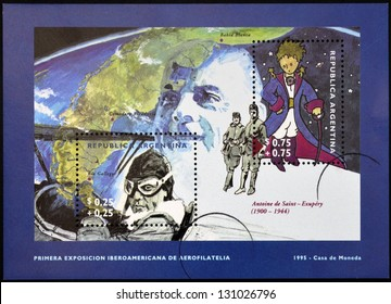 ARGENTINA - CIRCA 1995: A stamp printed in Argentina shows The Little Prince and Antoine de Saint-Exupery, circa 1995