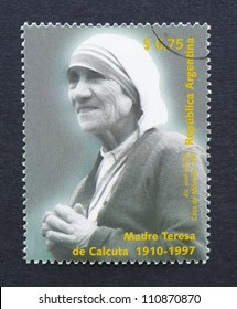 ARGENTINA -Â?Â? CIRCA 1997: a postage stamp printed in Argentina showing an image of mother Teresa, circa 1997.