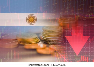 Argentina crisis economy stock exchange market down chart fall trading graph finance Fiscal deficit High inflation loan Argentina interest rate is high and effects of trade wars export import