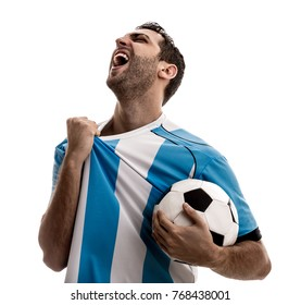 Argentina fan celebrating on white background