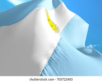 Argentina flag. 3D Waving flag design. White, blue and yellow flag.The national symbol of Argentina. Argentinian National colors. National sign of Argentina for background flag on texture