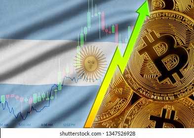 Argentina flag and cryptocurrency growing trend with many golden bitcoins