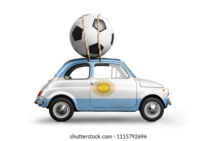 Argentina flag on car delivering soccer or football ball isolated on white background