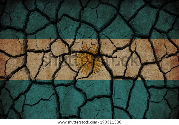 Argentina flag painted on cracked soil