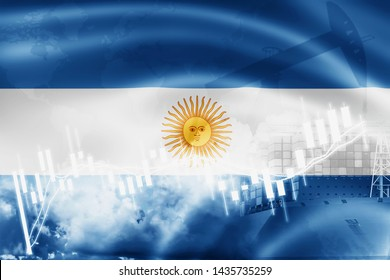 Argentina flag, stock market, exchange economy and Trade, oil production, container ship in export and import business and logistics.