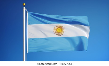 Argentina flag waving against clean blue sky, close up, isolated with clipping mask alpha channel transparency