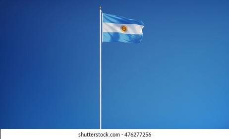 Argentina flag waving against clean blue sky, long shot, isolated with clipping mask alpha channel transparency