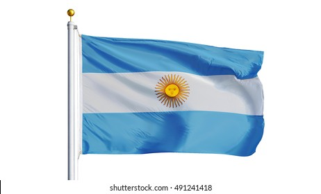 Argentina flag waving on white background, close up, isolated with clipping path mask alpha channel transparency