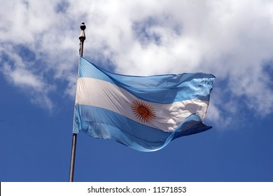 Argentina flag waving in the wind on a cloudy day