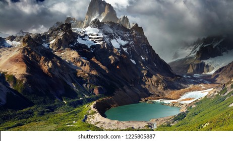 Argentina Lake in the crater of an extinct volcano