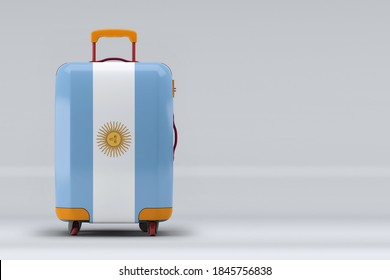Argentina national flag on a stylish suitcases on color background. Space for text. International travel and tourism concept. 3D rendering.