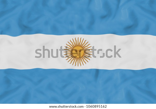 Argentina national flag with waving fabric