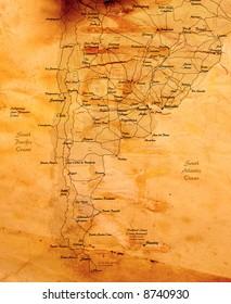 argentina old grunge map