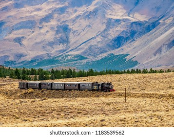 Argentina, Patagonia, Chubut Province - April 14, 2018: Old Patagonian Express La Trochita steam train.