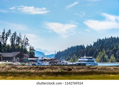 Argentina , San Carlos de Bariloche, March 18,2017. Harbor at Nahuel Huapi Lake - Bariloche, Patagonia, Argentina