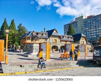 Argentina, San Carlos De Bariloche-20 June, 2016: Central Bariloche Plaza at a bright sunny day