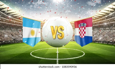 Argentina vs Croatia. Soccer concept. White soccer ball with the flag in the stadium, 2018. 3d render