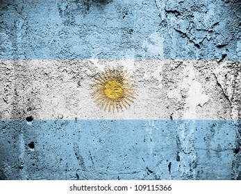The Argentine flag painted on grunge wall