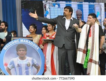 Argentine football legend Diego Maradona with his wife during charity program in Kolkata on Dec 11, 2017