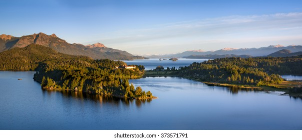 Argentine Lake District at sunrise view of the Llao Llao hotel and the lake lago Nahuel Huapi
