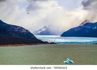 Argentine Province of Santa Cruz, Patagonia. Unique lake and glacier Perito Moreno,  in a mountain valley. The concept of  exotic and extreme tourism