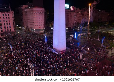 Argentine soccer great Diego Maradona dies at 60. A large crowd of fans gathered at the Obelisk of Buenos Aires, Argentina, to pay tribute to soccer legend Diego Maradona. 11-25-2020