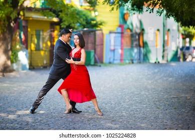 Argentine tango dancer couple poses