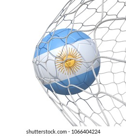 Argentinean Argentina flag soccer ball inside the net, in a net. Isolated on white background. 3D Rendering, Illustration.