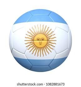 Argentinean Argentina soccer ball with national flag. Isolated on white background. 3D Rendering, Illustration.