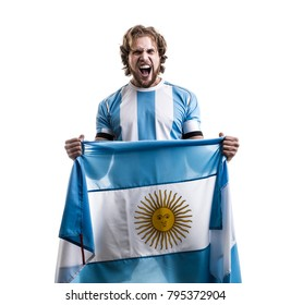 Argentinian athlete / fan celebrating on white background