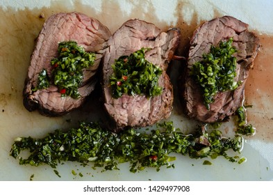 Argentinian beef barbecue and chimichurri sauce