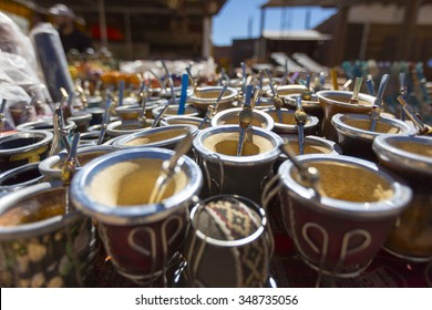 Argentinian calabash cups on display at a market stand in Puente del Inca (Inca Bridge), Buenos Aires, Argentina (Selective focus)
