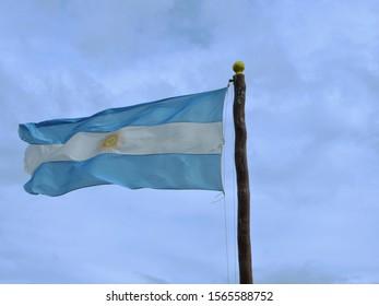 Argentinian flag in park Tierra del Fuego