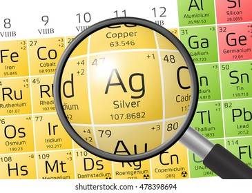 Aurum gold periodic table elements magnifying stock illustration argentum or silver from periodic table of the elements with magnifying glass urtaz Image collections