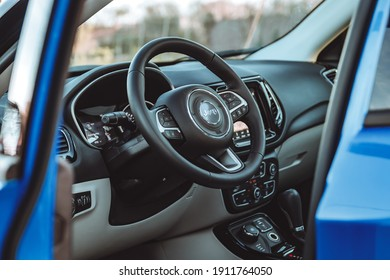 Arges, Romania - February 15 2020: Jeep Compass Limited interior cockpit view, steering wheel shot