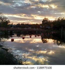 Argo Dam at dusk, Huron River, Ann Arbor, Michigan