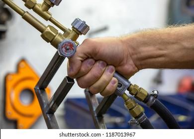 argon arc welding, Inert gas shielded arc welding in a Workshop