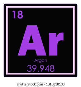 Argon chemical element periodic table science symbol