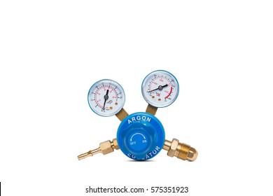 Argon cylinder pressure regulator gauge isolated on a white background