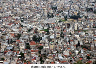 Argos in Greece - aerial view of a mediterranean city photographed from the Castle of Argos