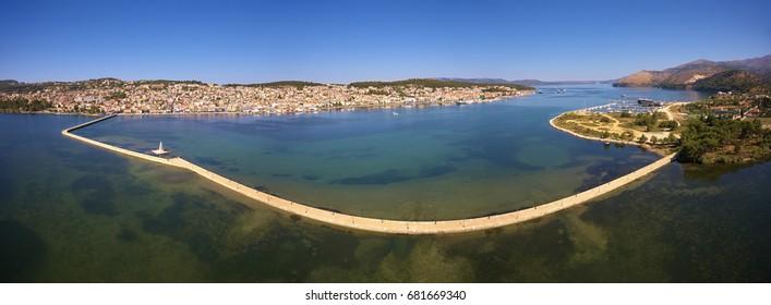 Argostoli city - The capital city of Kefalonia island in Greece ; drone photography