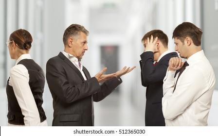 Arguing, conflict, business concept. The conflict between businessmen