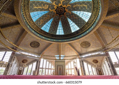 ARGUN, CHECHNYA, RUSSIA - Aug 17, 2016: Aymani Kadyrova Mosque interior in Argun, Chechnya, Russia