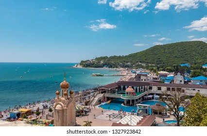 Arhipo-Osiovka, Russia - July 7, 2018: Beautiful view on pool and entertainment area of the sea resort.