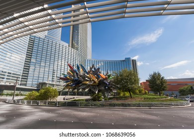 The Aria Resort in Las Vegas, Nevada, 29.07.2018. Big edge by Nancy Rubins,2009, Wide angle view.
