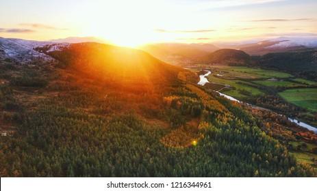 Arial sunset in Royal Deeside, Aberdeenshire, Scotland.