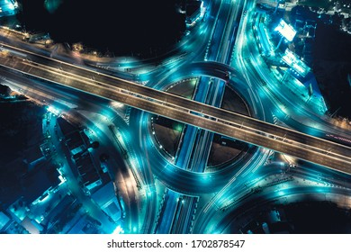 Arial top view of Modern smart transportation with Expressway, Road and Roundabout,  Road traffic, multilevel junction highway-Top view. Important infrastructure.