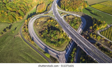 Arial view above a german Highway Heart green view
